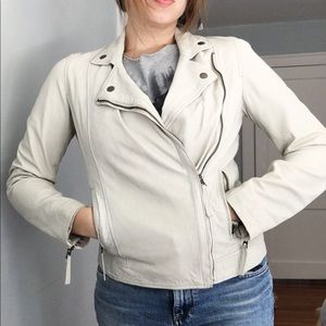 Lucky Brand Cream Asymmetrical Zip Leather Jacket